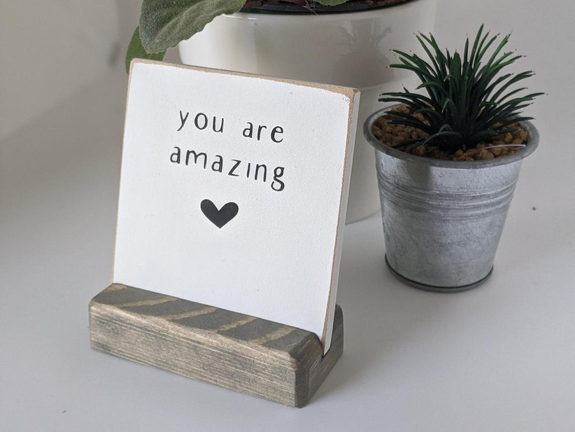 You Are Amazing wooden desk ornament thank-you gift for wedding vendor
