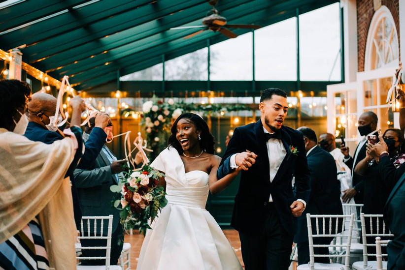 bride and groom wedding recessional