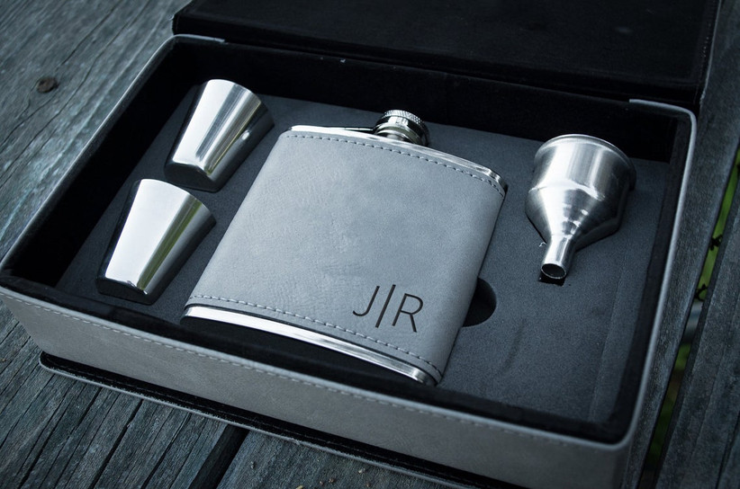 Monogram hip flask father of the groom gift box