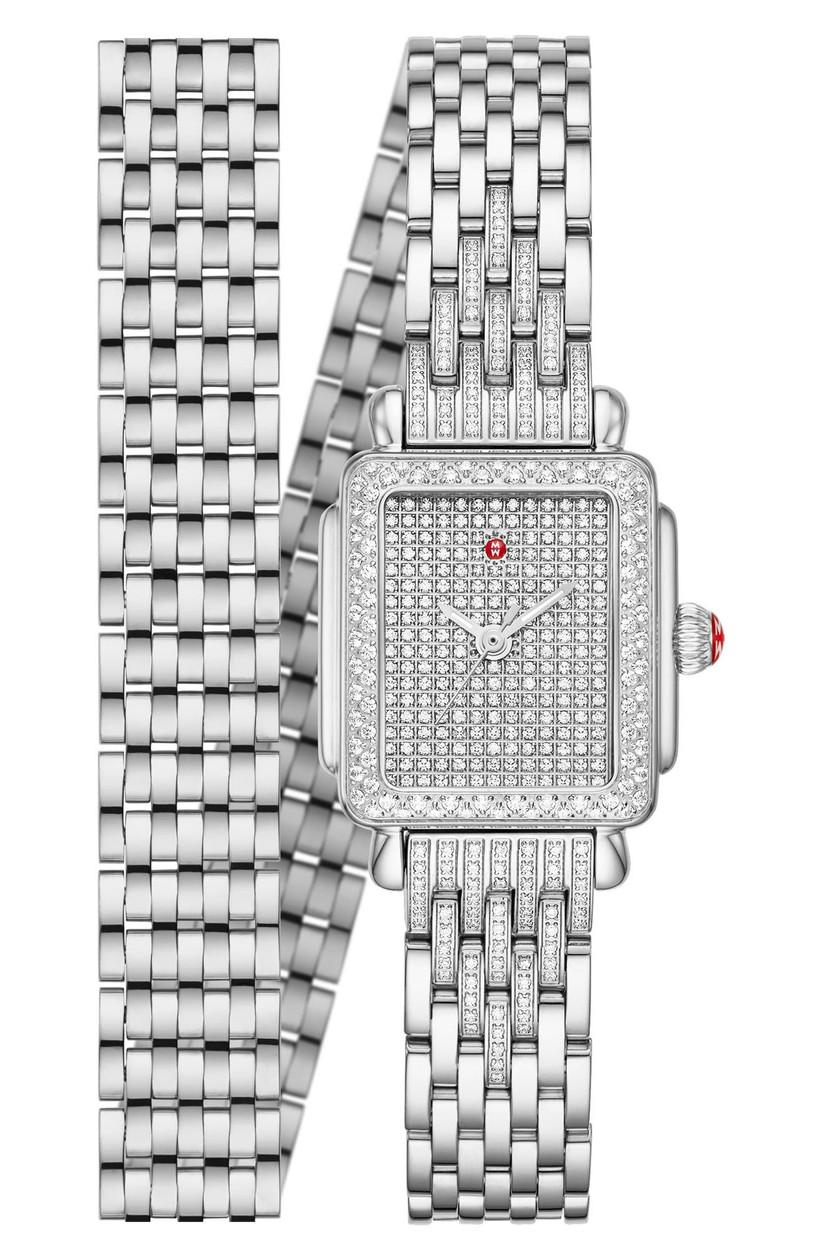 Dazzling diamond-encrusted bracelet wrap watch