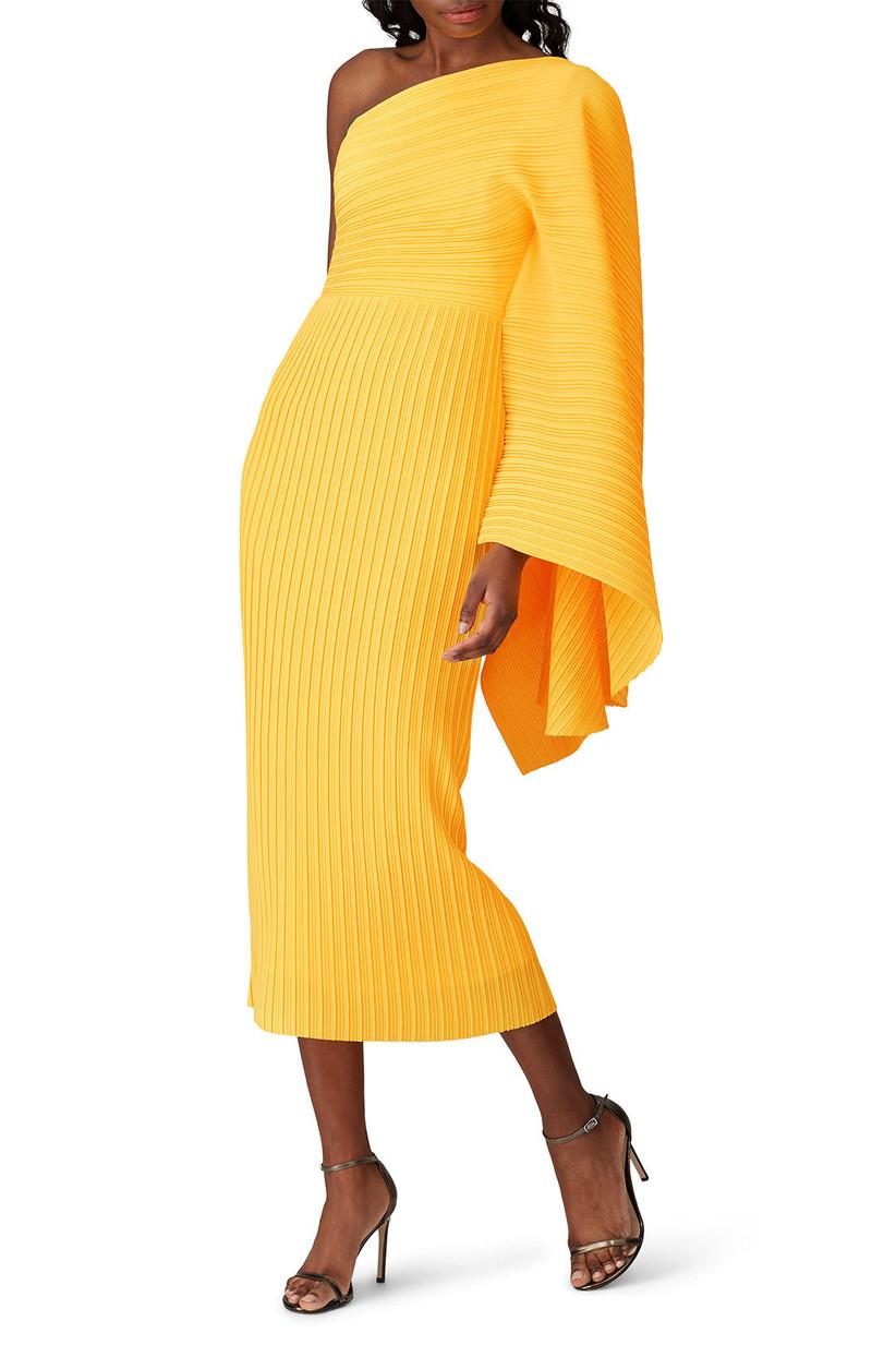 Bright yellow asymmetrical midi with draped sleeve