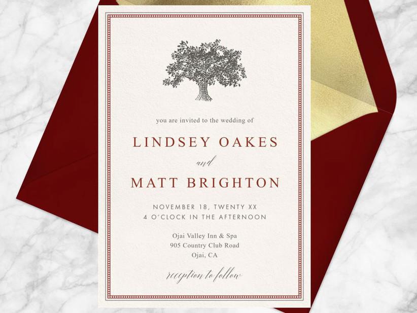 Elegant tree motif off-white digital wedding invitation