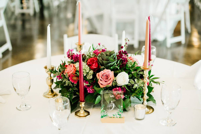bright wedding reception centerpiece