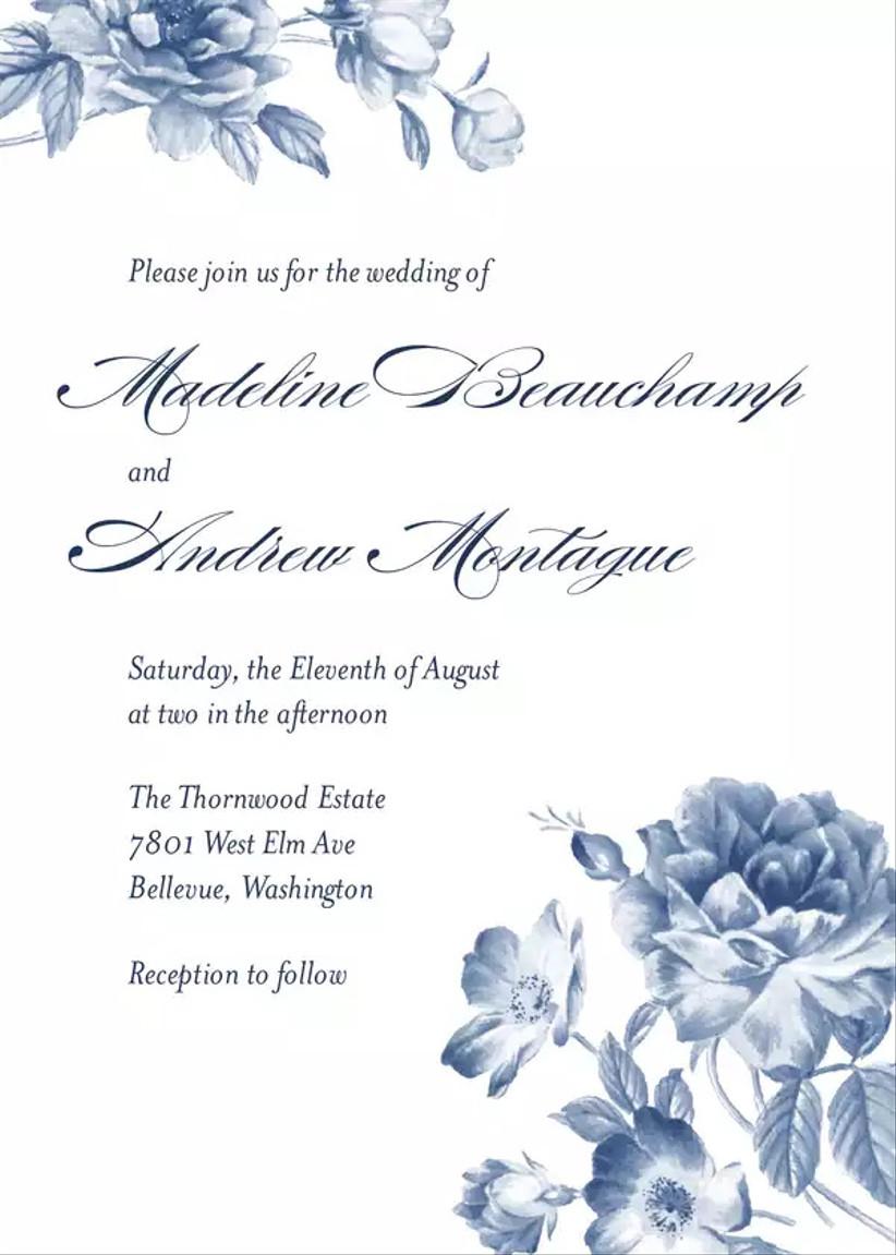 elegant summer wedding invitation with blue cyanotype flower border