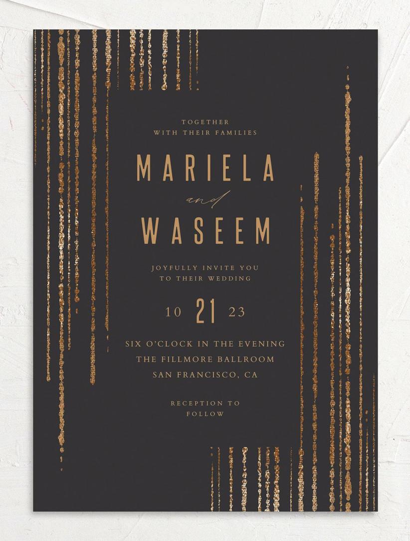 glam winter wedding invitations black background with rose gold confetti striped border