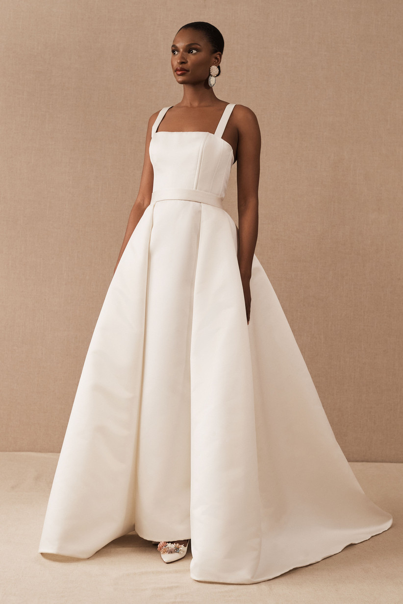 simple ball gown with square neckline and belt