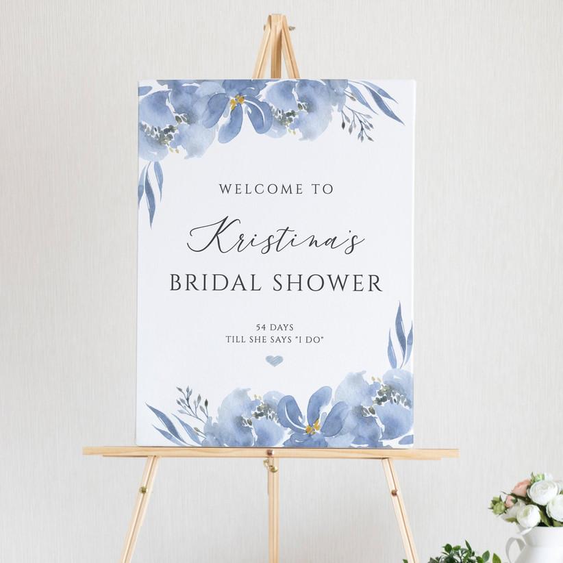 blue floral bridal shower sign