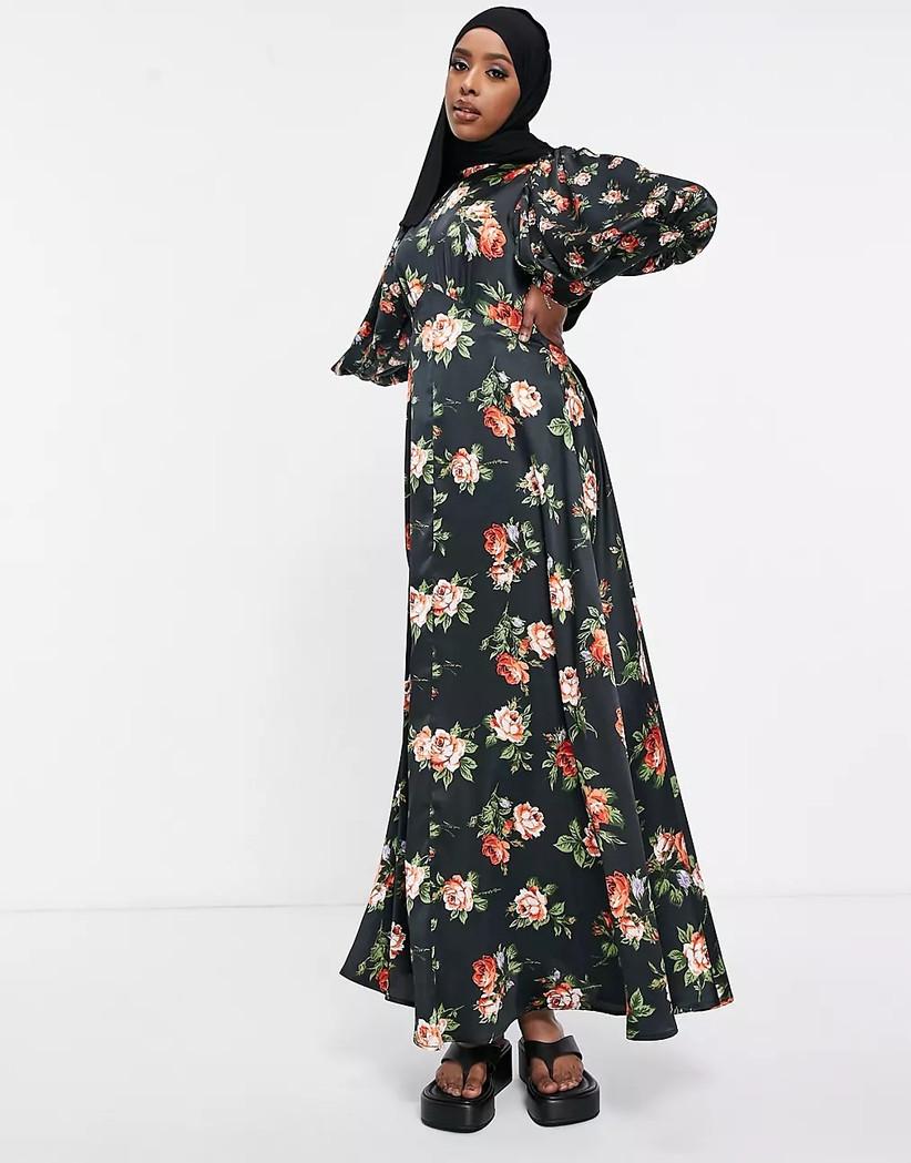 Rose print on black background maxi fall wedding guest dress