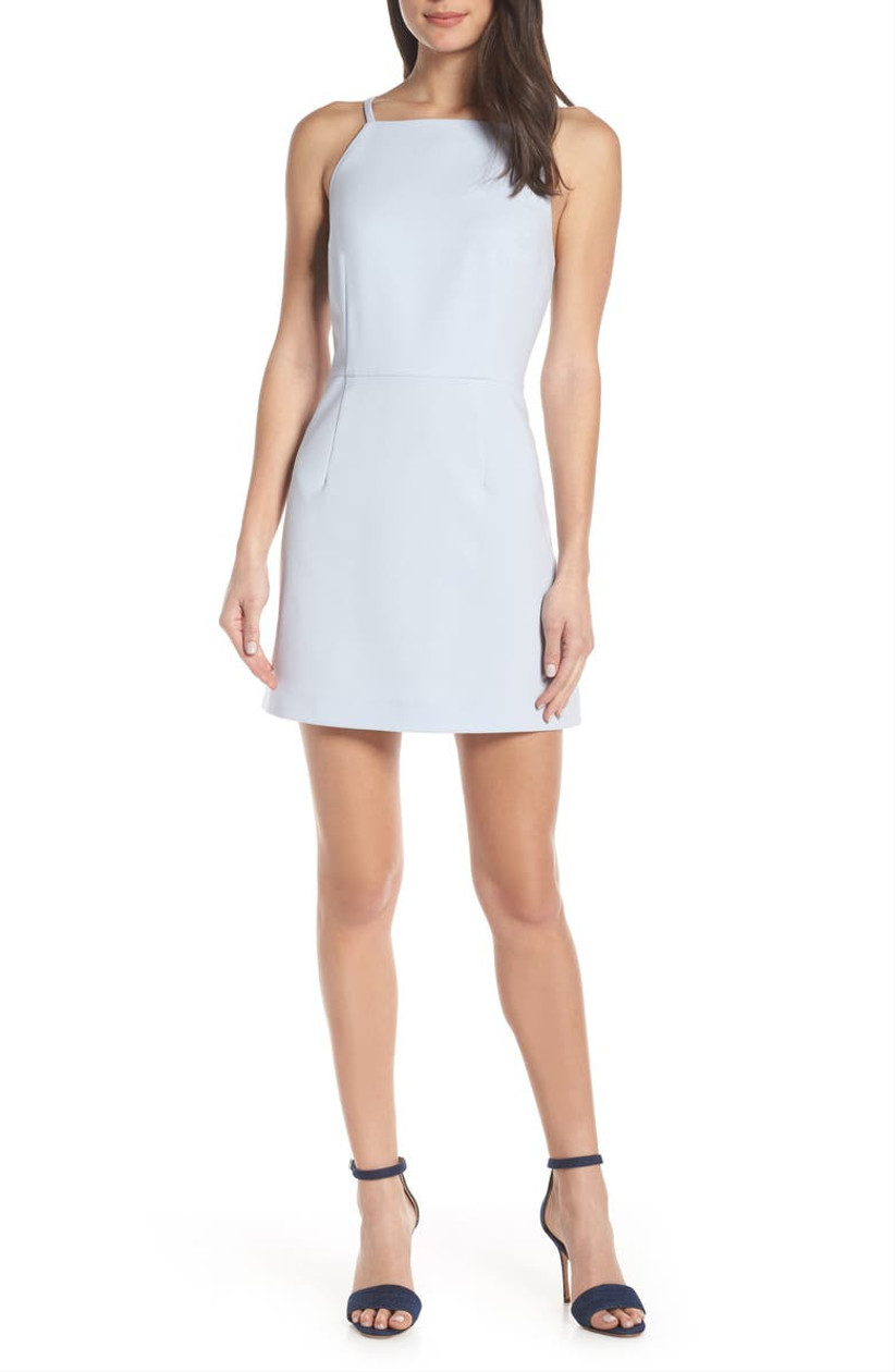 model wearing plain simple engagement party dress mini skirt with square neckline