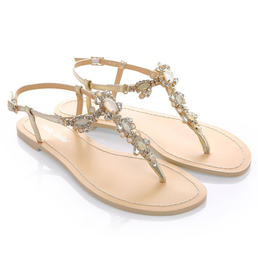 flat gold wedding shoes thong sandals with beaded rhinestone straps and gold leather