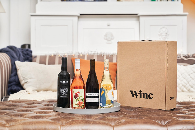 Selection of wine from wine subscription gift box