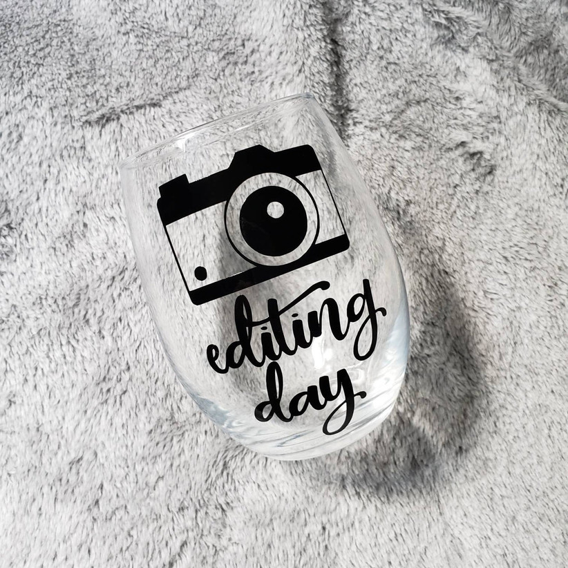 Editing Day camera motif stemless wine glass photographer or videographer gift
