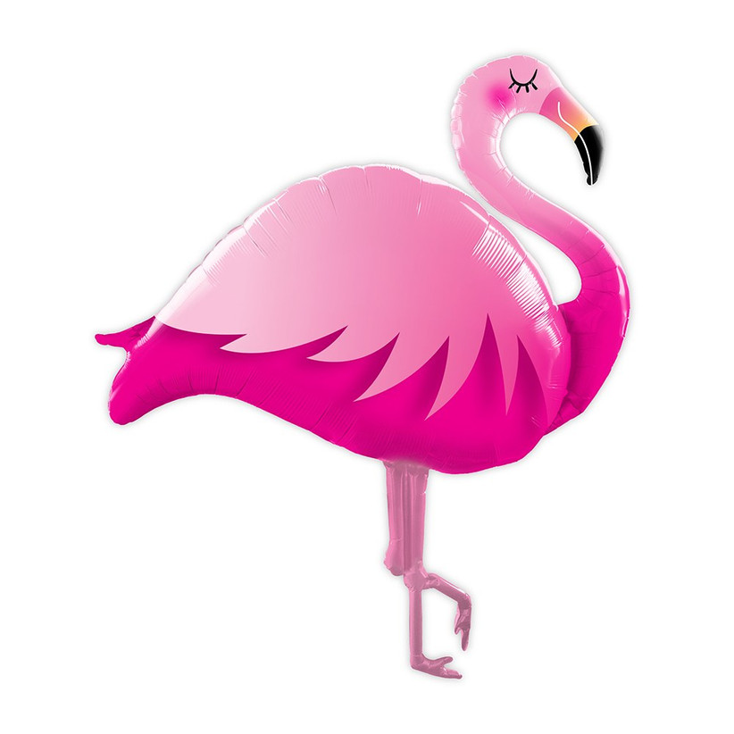 Pink foil flamingo balloon on white background tropical bridal shower decoration