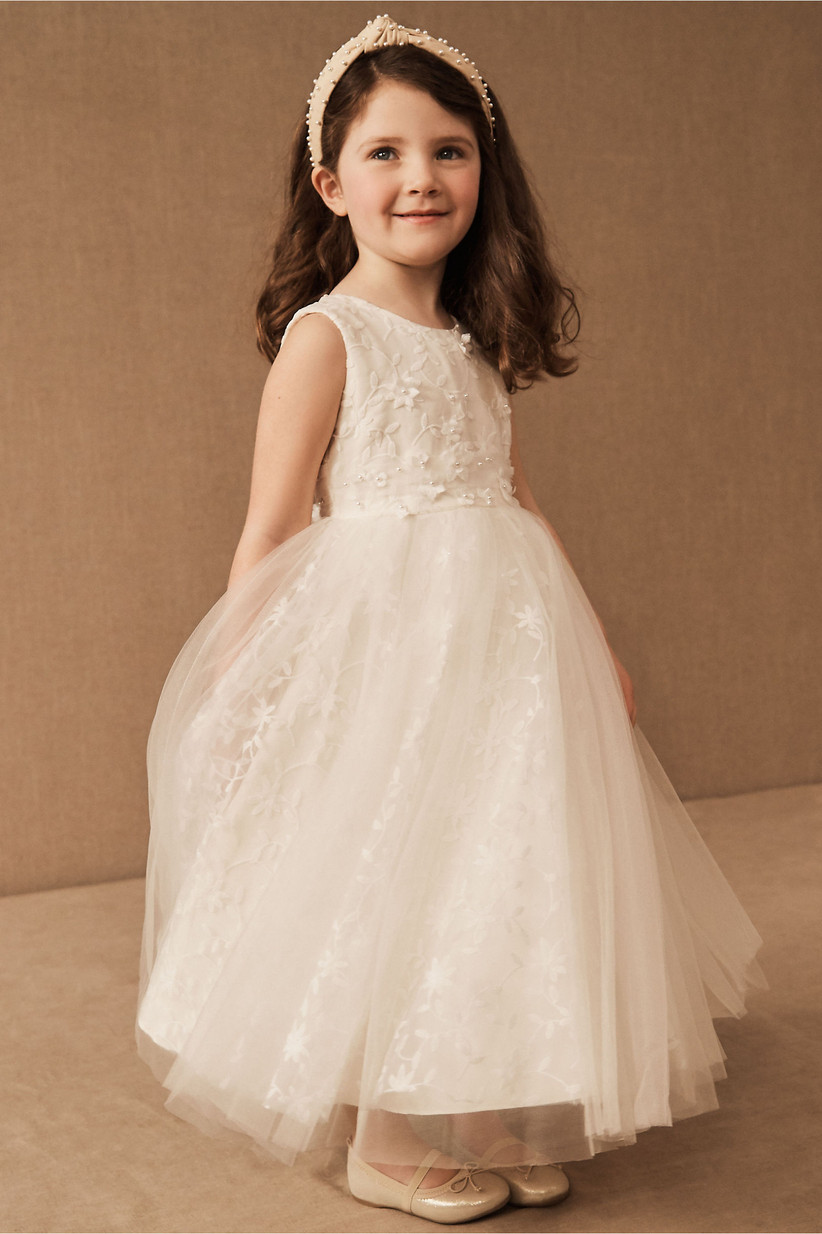 cut out back floral tulle flower girl dress