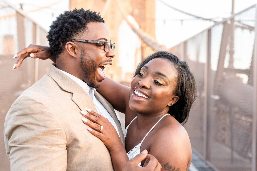 happy recently engaged couple