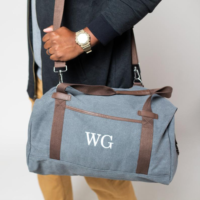 canvas weekend bag monogrammed with initials
