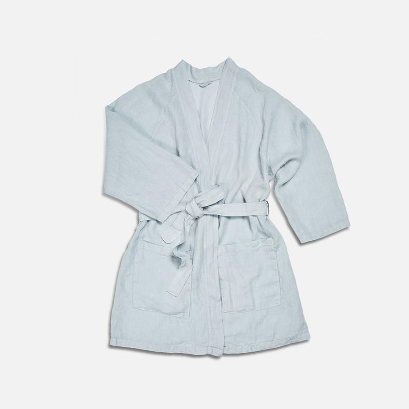 light blue linen robe
