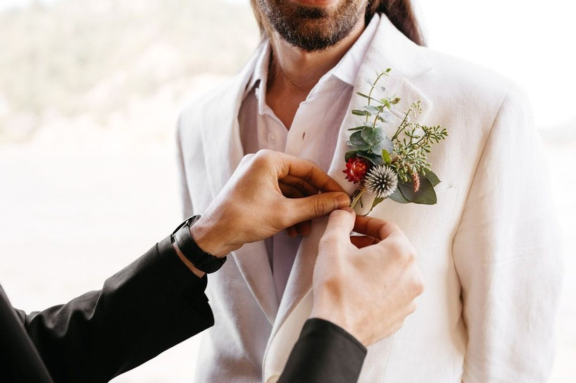 greenery and thistle wedding boutonniere