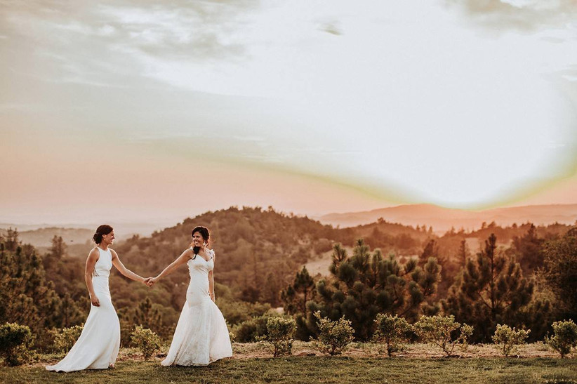 two brides holding hands walk across the lawn at sunset