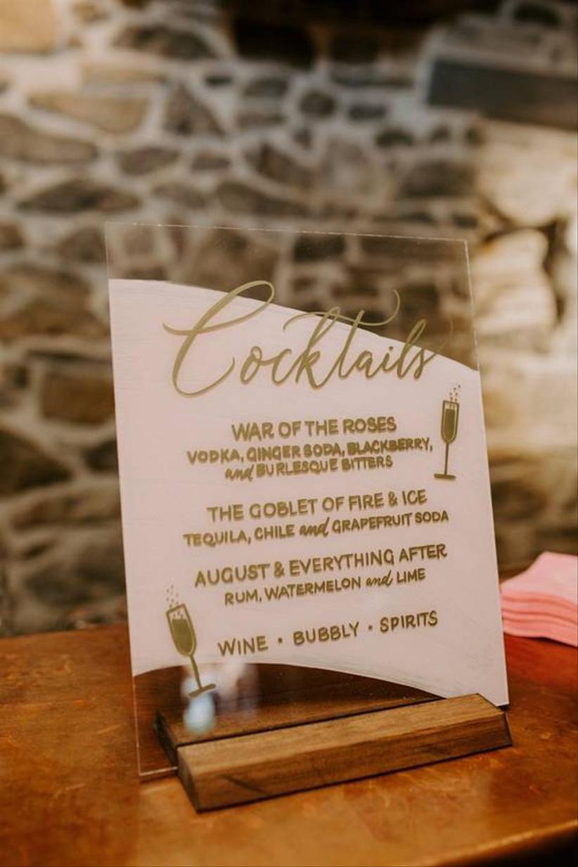 cocktail wedding sign