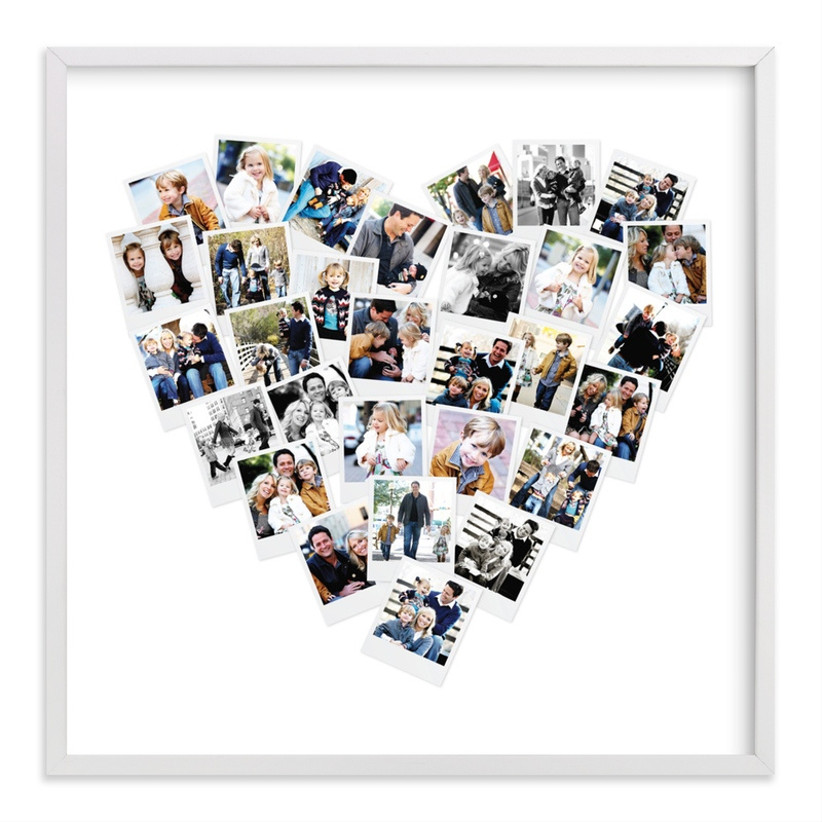 Heart-shaped photo collage framed mother of the groom gift