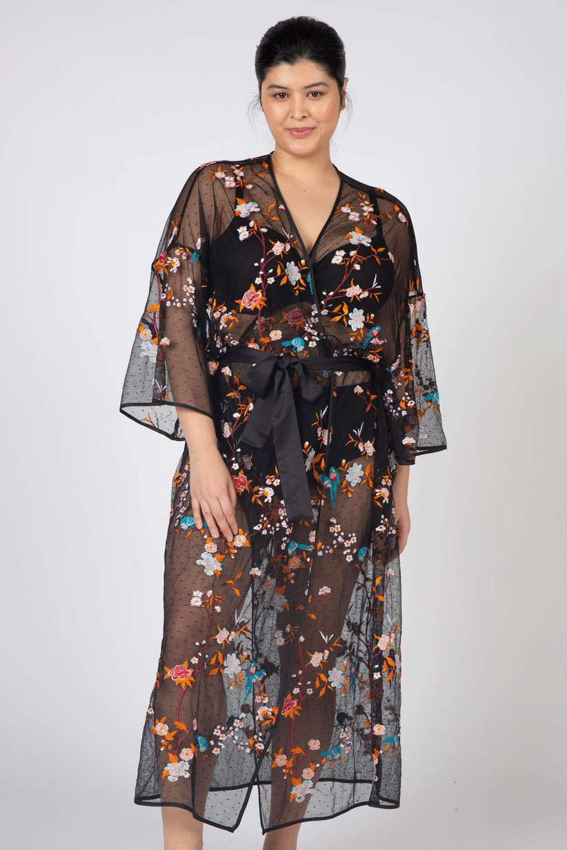 Sheer black bridal robe with colorful floral embroidery