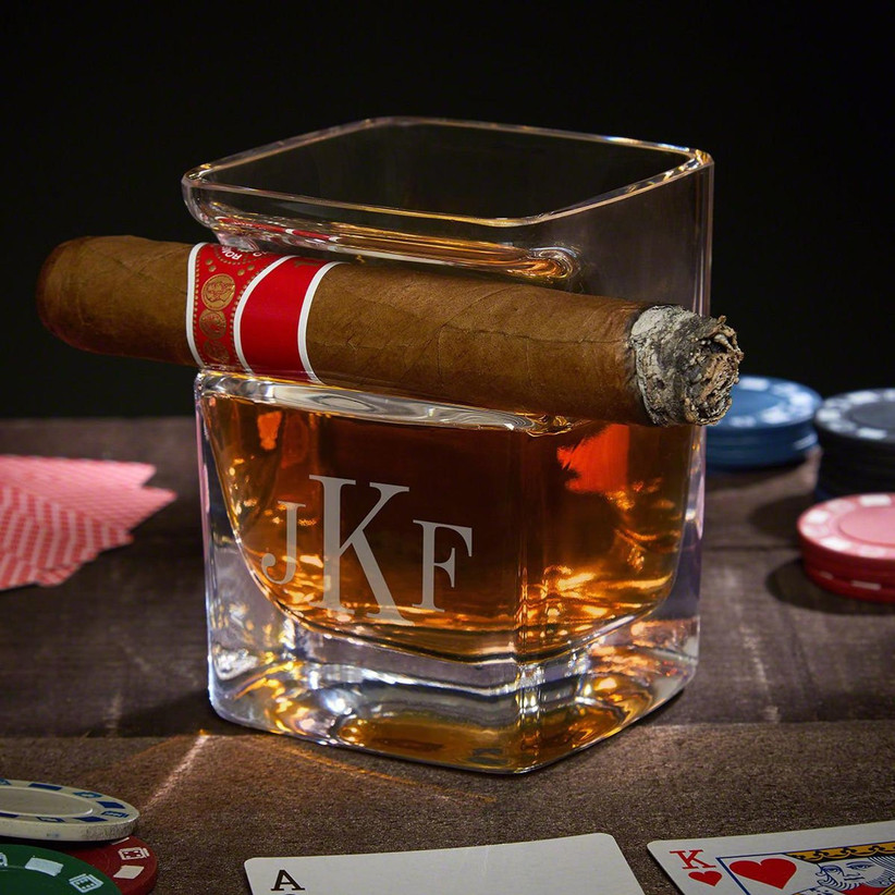 whiskey glass with cigar holder