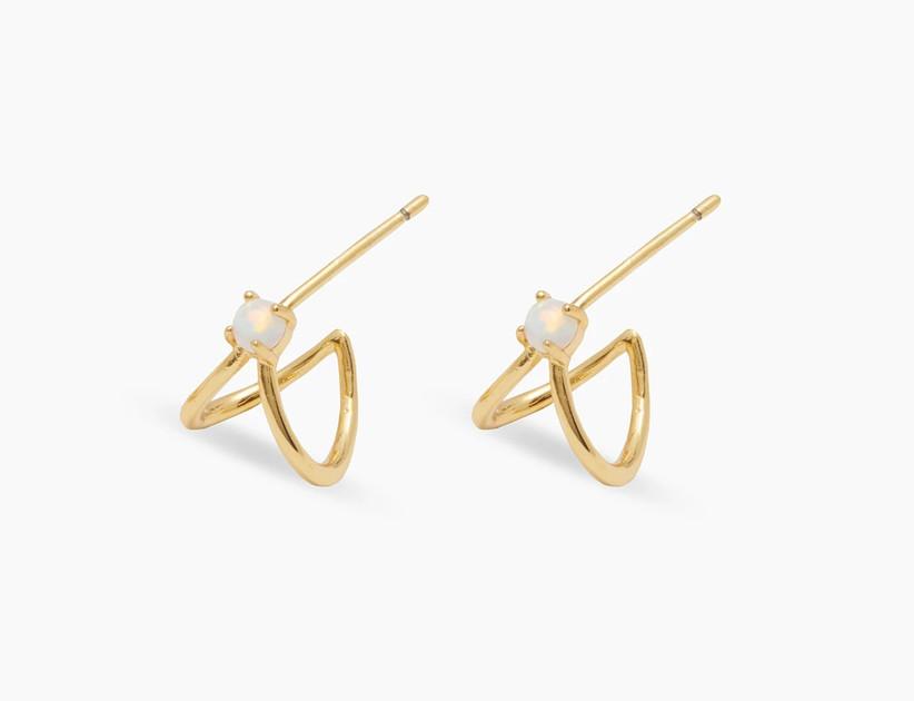 Elegant gold double huggie earrings with opalite