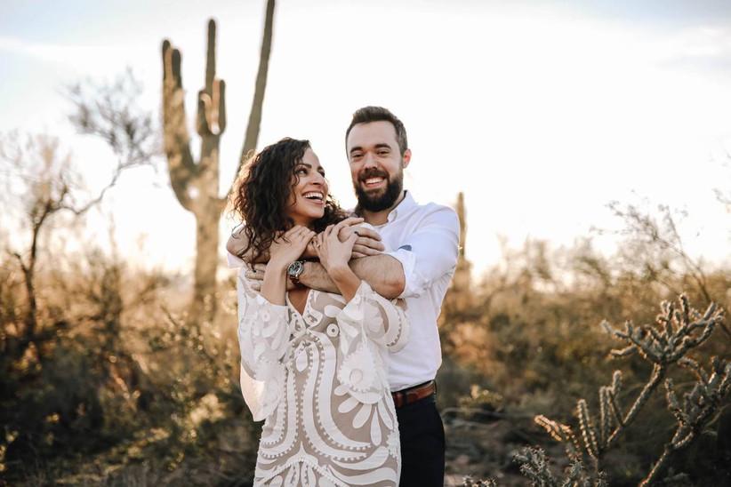 couple posing in desert