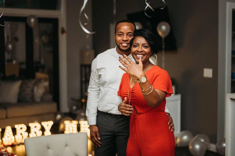couple celebrating engagement