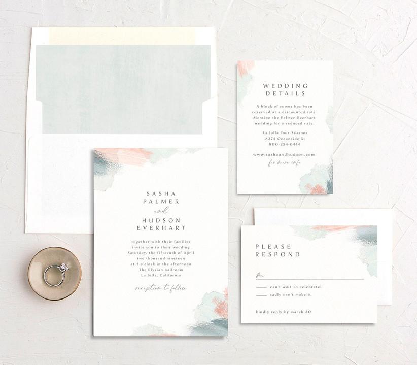 Minimalist watercolor invitation suite from WeddingWire Invitations
