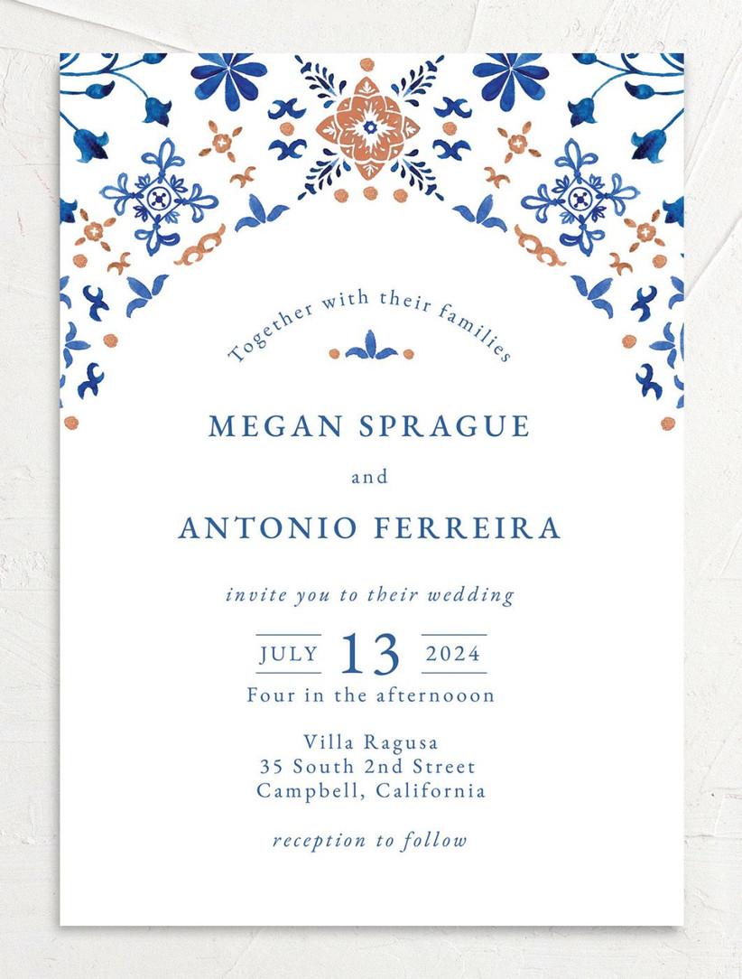boho summer wedding invitation with blue and gold mosaic tile design