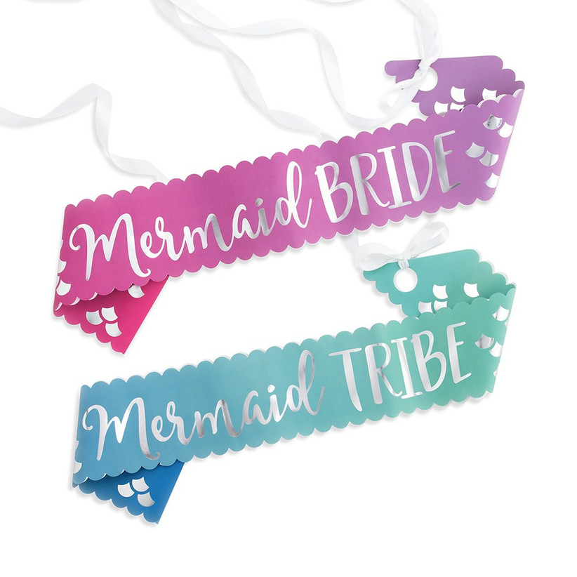 mermaid-themed bachelorette party sashes watercolor turquoise and magenta