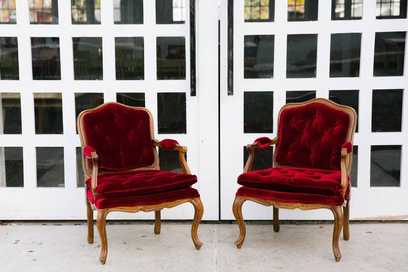 red velvet chairs for wedding reception