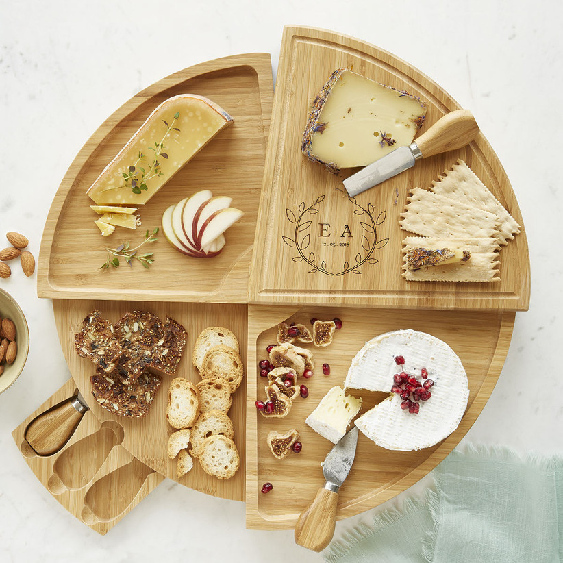uncommon goods swivel cheese board for 13th year wedding anniversary gift