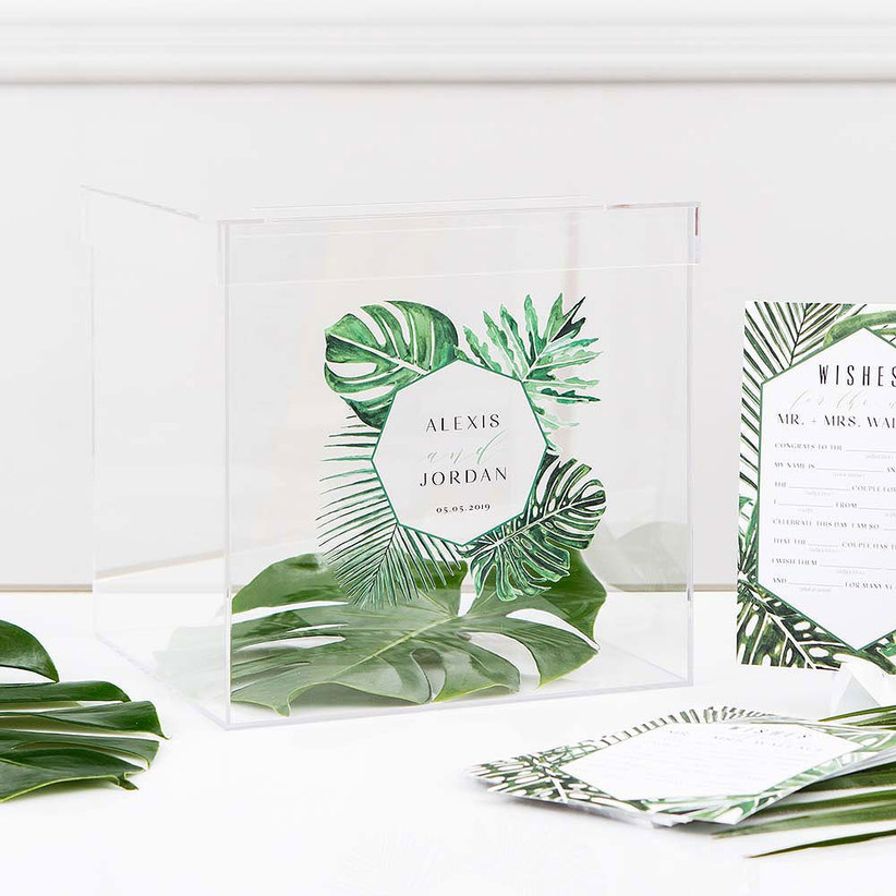 Tropical style guest book box for well wish cards