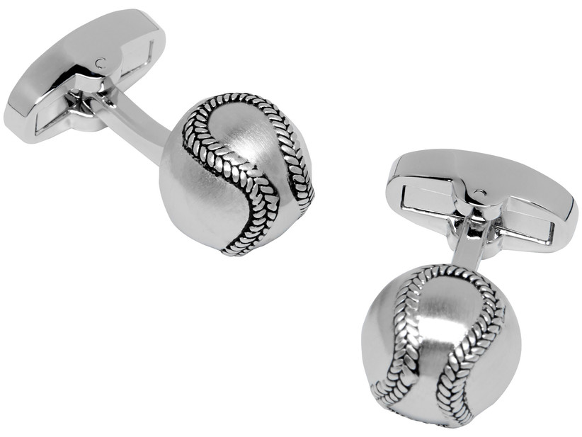 Steel cuff links in the likeness of mini baseballs