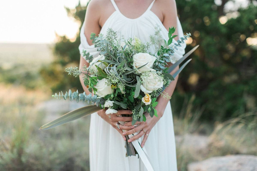 green and white beach wedding bouquet with air plants and spiral eucalyptus