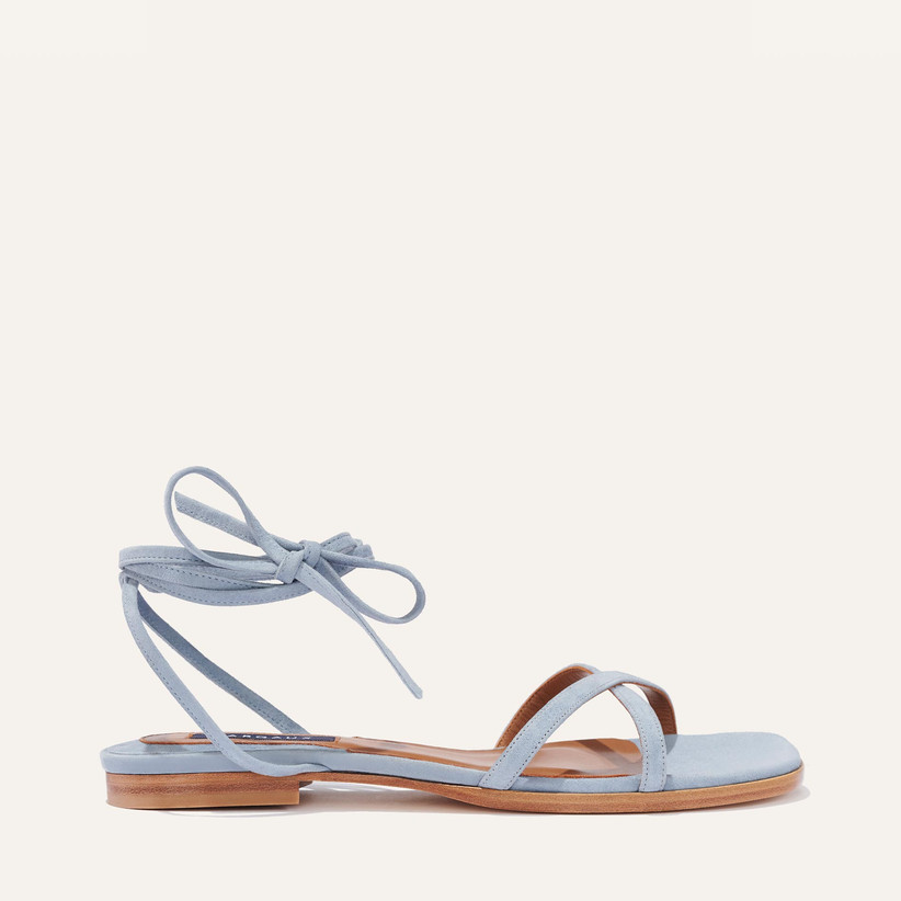 blue wedding shoes flat sandals with ankle tie straps