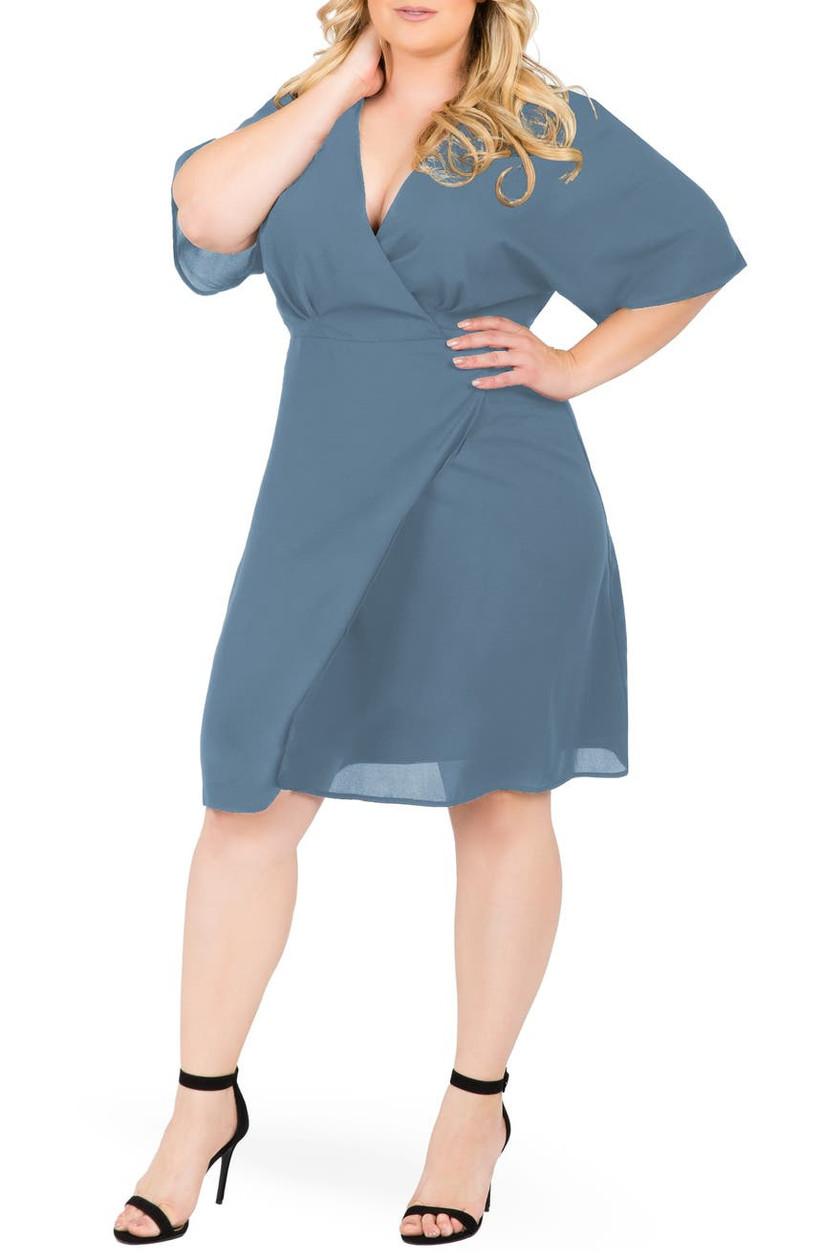 Casual slate blue plus-size wrap dress for fall wedding