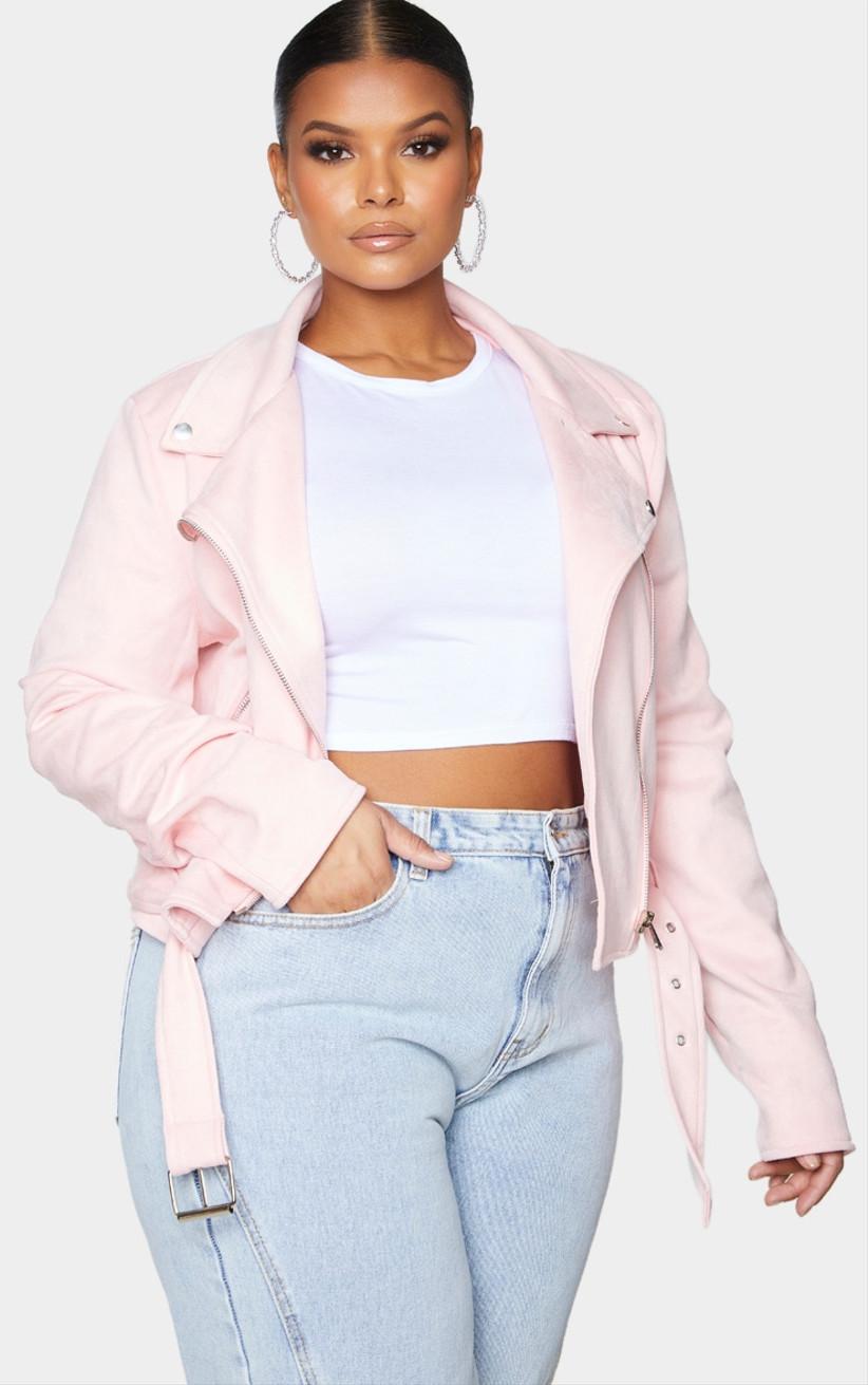 pale pink suede moto jacket