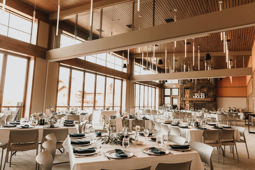 indoor wedding venue in oregon - modern ballroom with high ceilings and large windows filling room with natural light
