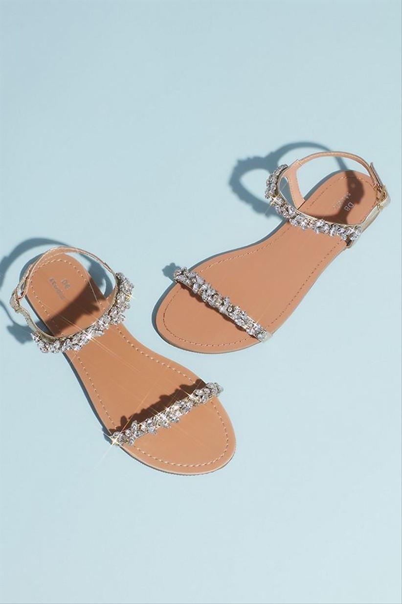 flat gold wedding sandals with beaded rhinestone straps