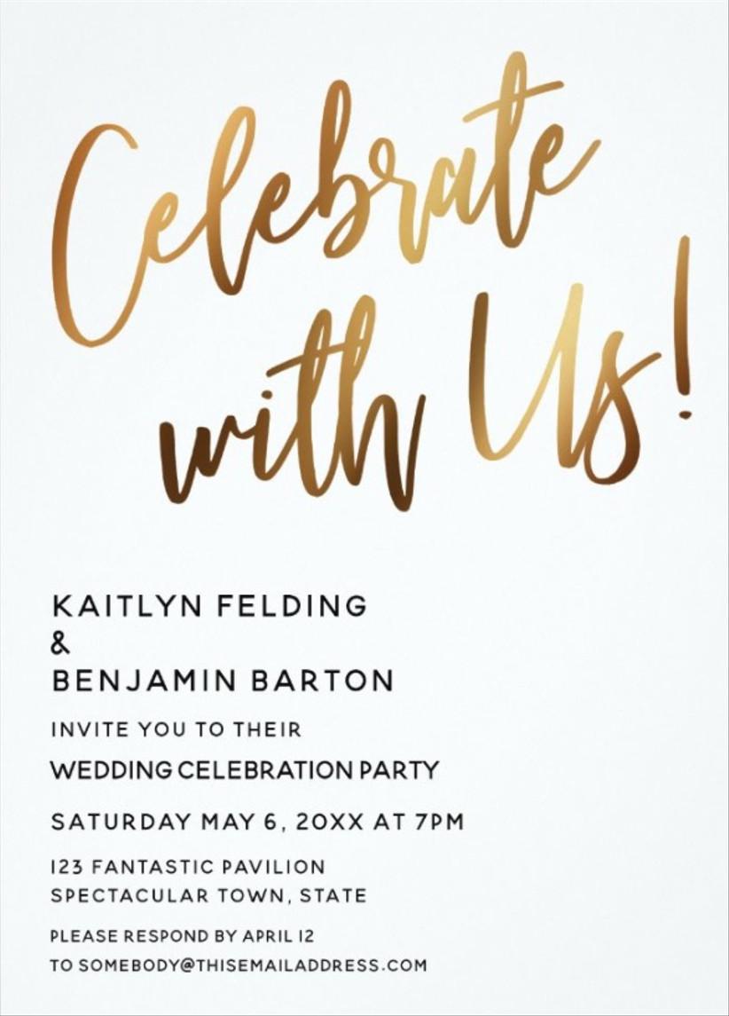 gold winter wedding invitations