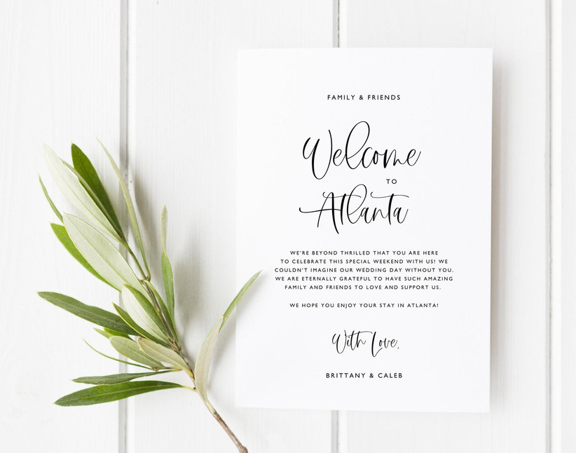 Printed welcome note wedding welcome bag idea