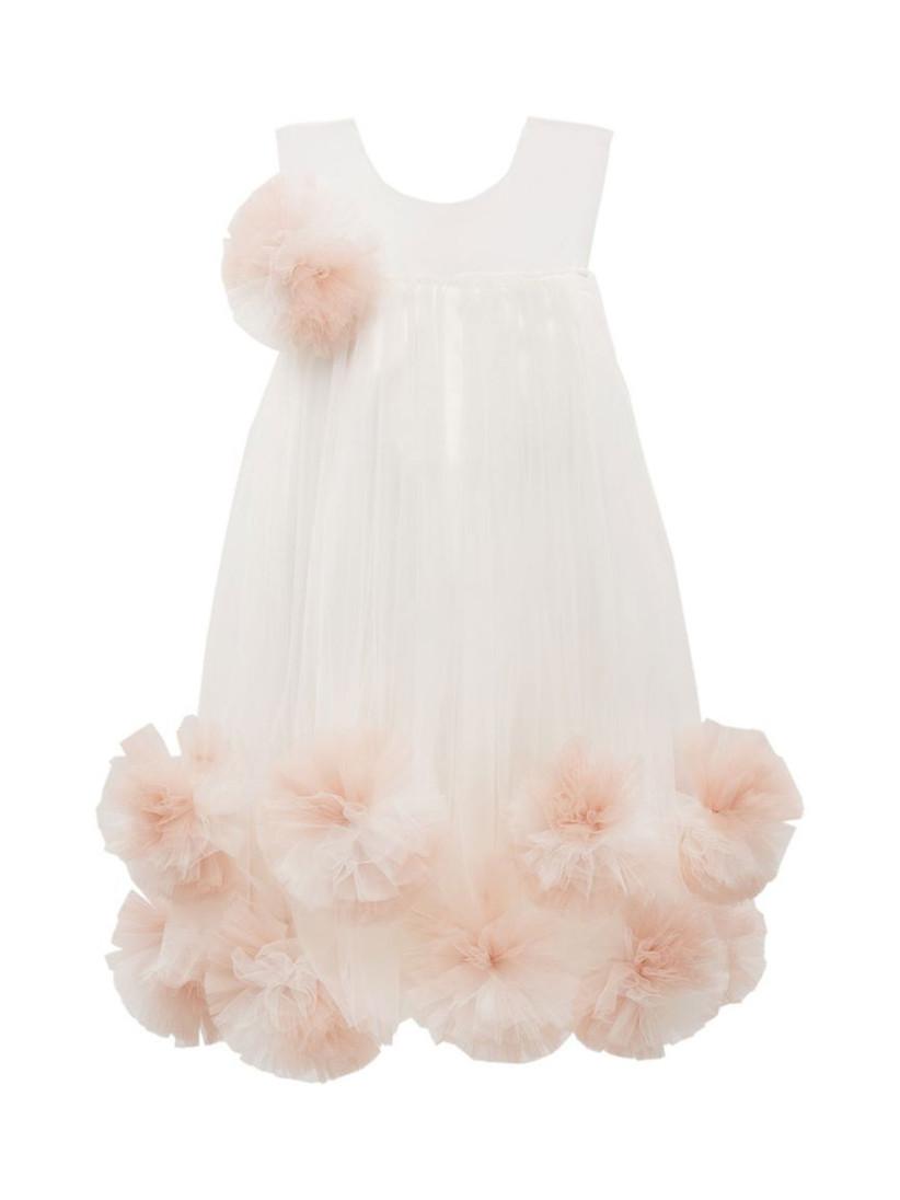 white pink pom pom kids dress