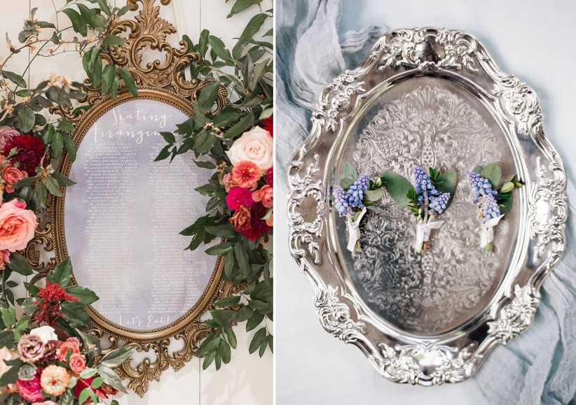 image 1: a wedding seating chart surrounded by a gold frame and pink flowers, image 2: blue boutonnieres are displayed on a silver tray