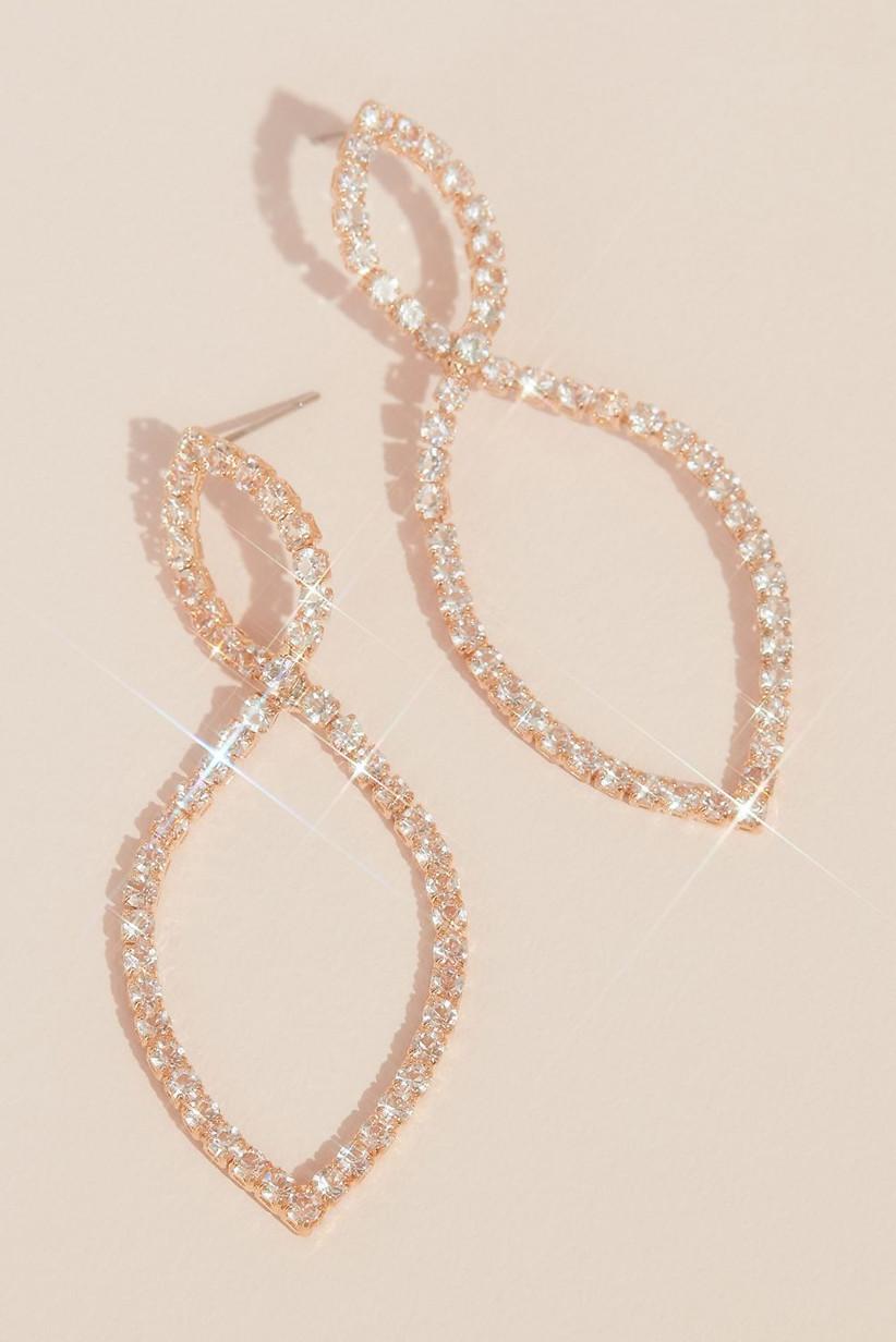 Rose gold infinity pavé earrings