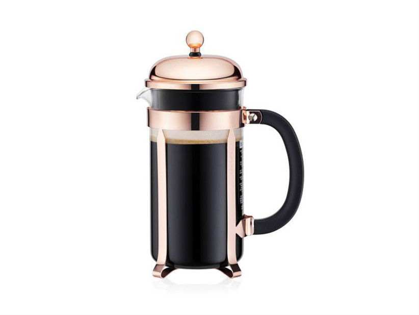 Copper-hued French press coffee maker