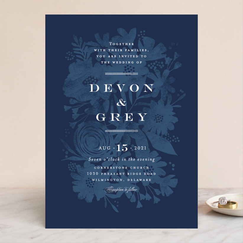 blue minted wedding invitation